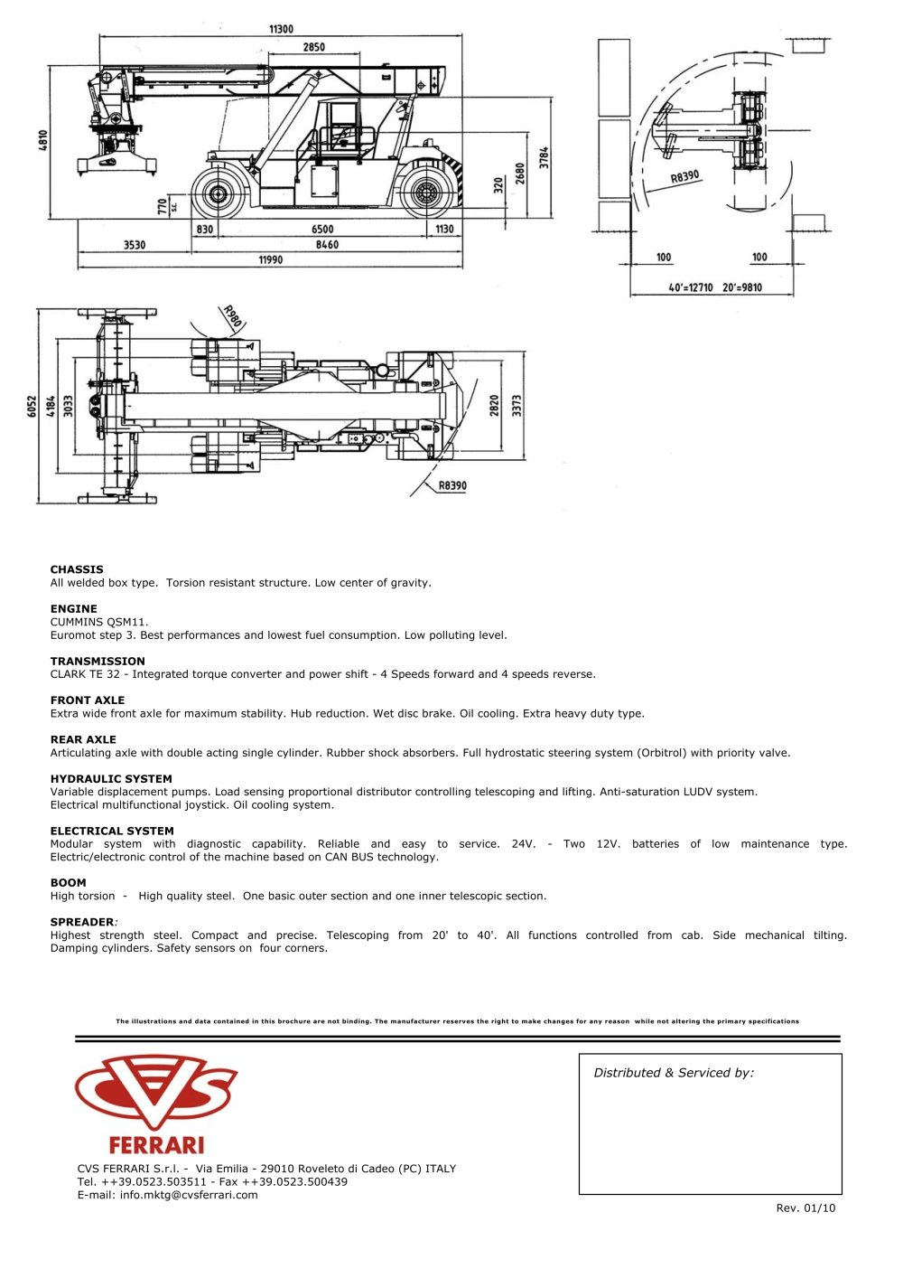 Owens Container Forklift specs